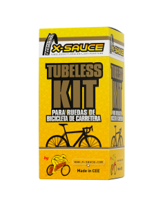 KIT TUBELESS CARRETERA  - VÁLVULA. FINA - CINTA NEGRA 17MM