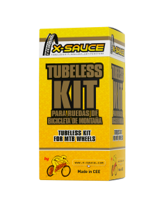 TUBELESS KIT FOR 2 MTB WHEELS PRESTA VALVE - BLACK TAPE